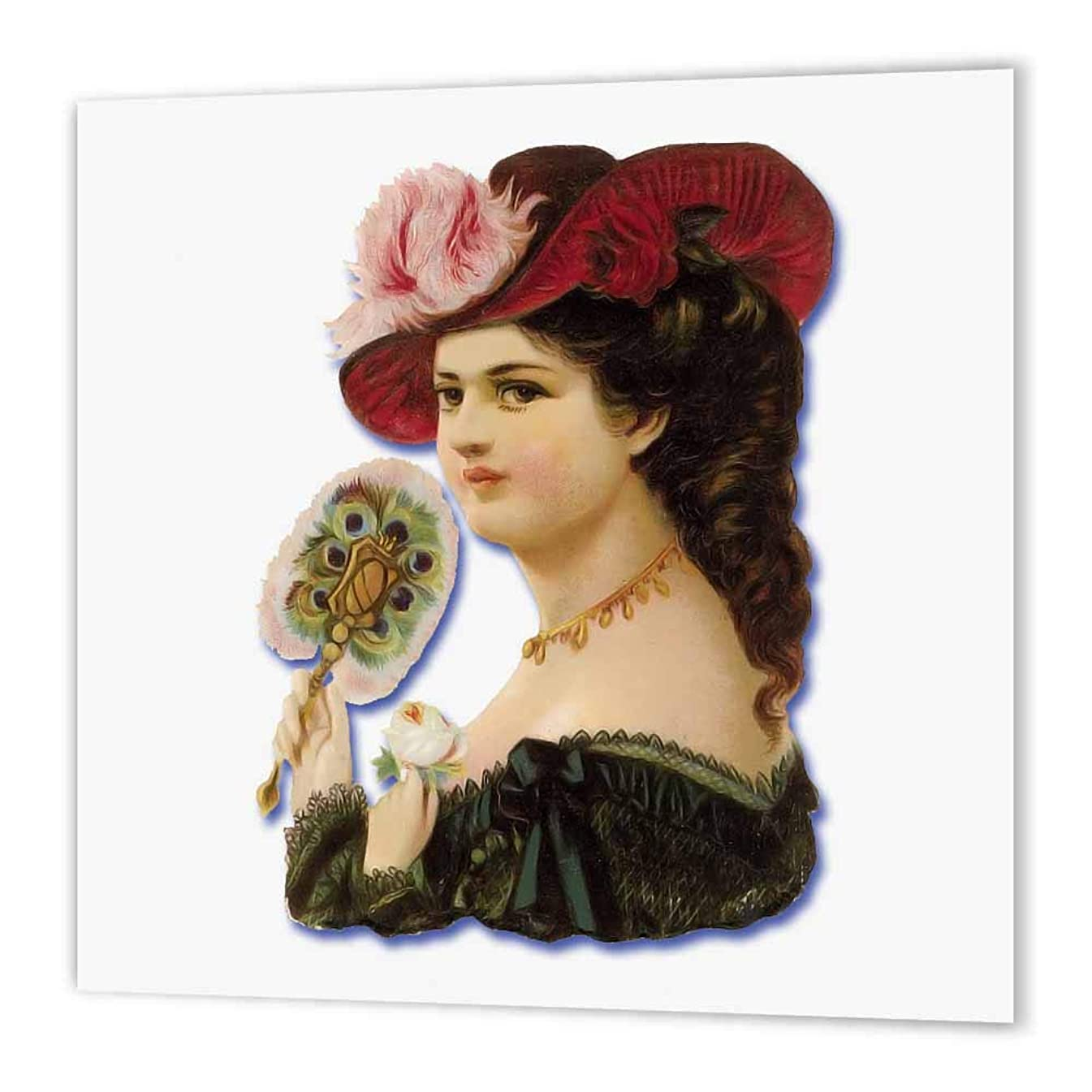 3dRose ht_175396_3 Beautiful Victorian Lady in a Feathered Hat Holding a Feather Fan-Iron on Heat Transfer Paper for White Material, 10 by 10-Inch