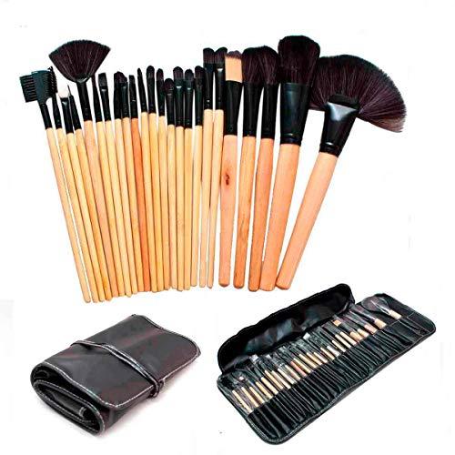 Kit 24 Pincéis Maquiagem Pincel Estojo Profissional Blush Marrom