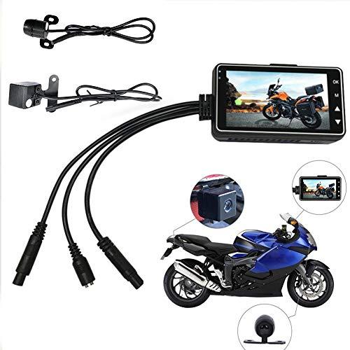 QLING Motorrad-Kamera, Dual-Objektiv, HD DVR, Armaturenbrett, Videorekorder, IP68, wasserdicht, Weitwinkel, Motorrad Dashcam mit Nachtsicht, Schwarz , Free Size