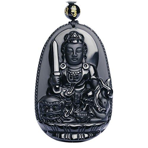 Bella Jade Buddha Bodhisattva Pendant Necklace Amulet Talismanof Obsidian (Manjushri (Wisdom) - for Women)
