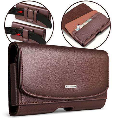 nuoku Horizontal Leather Phone Holster for iPhone12,12 Mini,11 Pro,Xs 8 7 6...