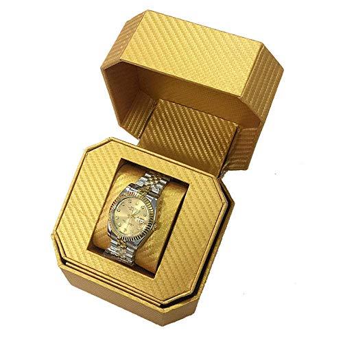 LGR Joyero Caja de Reloj Regalo Viaje Hombres Mujeres Cajas de joyería PU Cuero Clamshell Pulsera de joyería Caja de Almacenamiento de joyería de Oro 13 * 13 * 10.2Cm