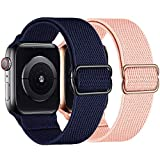 2 Pack Stretchy Straps Compatible with Apple Watch Bands 38mm 40mm, Adjustable Braided Solo Loop Nylon Bands Compatible for iwatch Series 6/5/4/3/2/1/SE Men & Women (Midnight Blue/Sand Pink, 38/40mm)