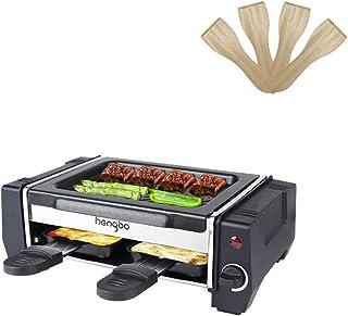 HengBO Mini Raclette Grill, Raclette 2 Personas, Parrilla de Mesa Antiadherente Grill, Acero Inoxidable - 500W