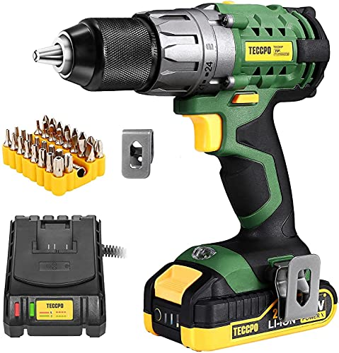 TECCPO Cordless Drill, 20V Drill Driver 2000mAh Battery, 530 In-lbs Torque, Torque Setting, Fast Charger 2.0A,...