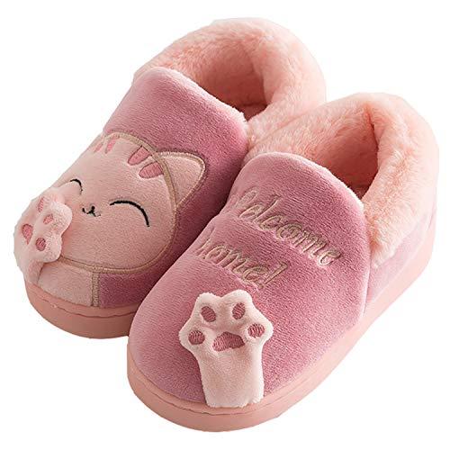 Zapatillas de Estar por Casa para Niño Niña Zapatos Pantuflas Invierno Mujer Hombre Interior Caliente Peluche Forradas Slippers, Gato Rojo, 32/33 EU