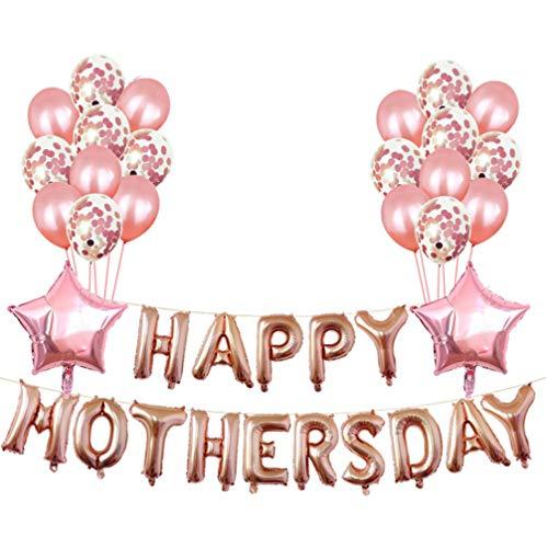 PRETYZOOM Conjunto de Globos Feliz Día de Las Madres 16 Pulgadas Carta Oro Rosa Decoración de Aluminio Suministros para Fiestas Globos para El Día de Las Madres