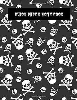 Black Paper Notebook: Fun Skulls and Crossbones Pattern -Perfect for writing, drawing- Blank Black Art Sketchbook
