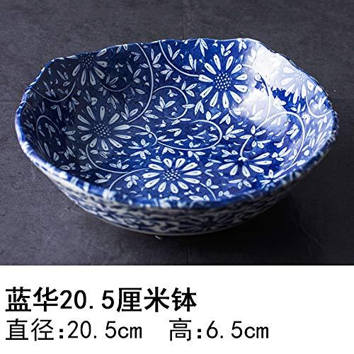 YUWANW Japon Vaisselle en Porcelaine Importée Plaque en Céramique des Importations Japonaises De Plat Dessert Saladier Plat Bol, Bleu Hua 20,5 Cm Bol Bol