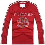 HYDROGEN 新品 Tシャツ メンズ おしゃれ ドクロ スカル カジュアル 人気 長袖TシャツYC480 (Red, L)