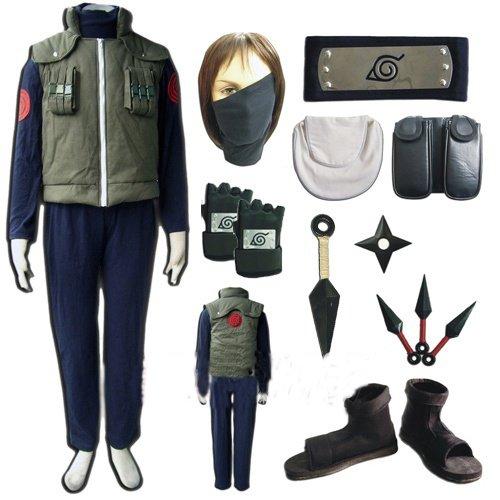 Naruto Hatake Kakashi Weste Cosplay + Kakashi Maske + Kakashi Handschuhe + Ninja Schuhe + Waffen-Sets, Größe XL:(Höhe 173-177cm,Gewicht 70-80 kg)