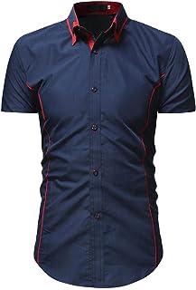 Camisa De Hombre De Camisas Manga Camisa Corta Para Tamaños Cómodos Hombre Camisas Casuales De Color Liso Camisa De Verano...