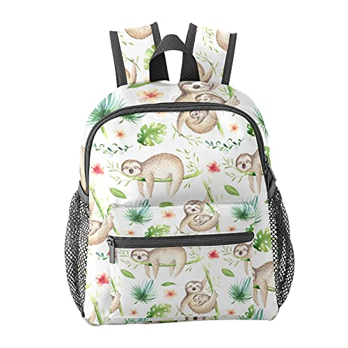 Watercolor Boho Tropical Sloth Backpack for Boys and Girls Perfect Size for Travel