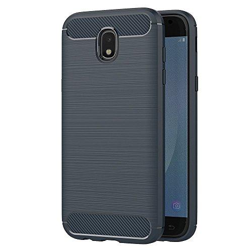 AICEK Funda Samsung Galaxy J7 2017, Azul Silicona Fundas para Samsung J7 2017 Carcasa J7 2017 Fibra de Carbono Funda Case (5,5 Pulgadas SM-J730F)