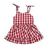 Fossen Recién Nacido Bebé Niña Vestido sin Mangas a Cuadros (12 Meses, Rojo)