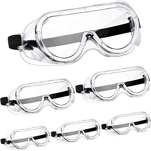 6 Pares Gafas Protectoras Gafas de Seguridad Gafas Resistentes a Salpicaduras Químicas Gafas Transparentes Ajustables para Protección Ocular Trabajo Laboratorio