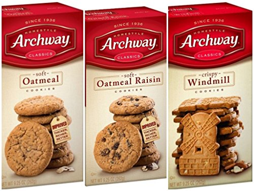 Archway Homestyle Soft Oatmeal, 9.25 oz, Soft Oatmeal Raisin, 9.25 oz, and Crispy Windmill Cookies, 9.25 oz
