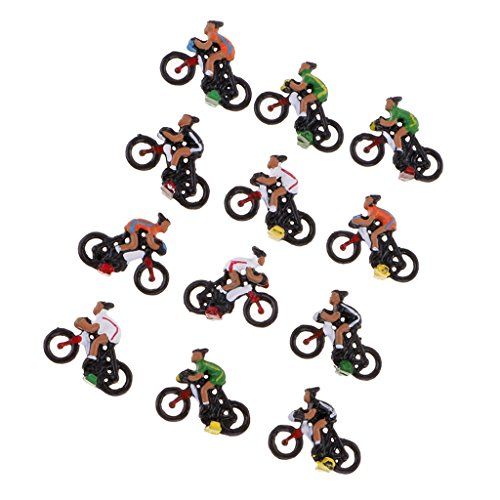 Sharplace 12pcs Miniatura Modelo de Ciclista para Disposición Escala 1/87 HO DIY...