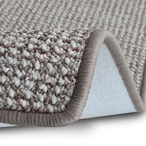 casa pura Teppich Läufer Carlton | Flachgewebe dezent Gemustert | Teppichläufer in vielen Größen | als Küchenläufer, Flurläufer | mit Stufenmatten kombinierbar (Grau-Beige - 66x100 cm)