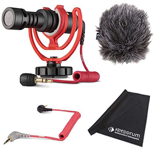 Rode Videomicro Kondensator Kamera Mikrofon Set + SC7 Anschlusskabel TRS 3,5mm –TRRS + keepdrum Mikrofasertuch