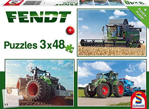 Schmidt Spiele Traktor, 3 x 48 Teile Kinderpuzzle Puzzle 56221, beige, Fendt 1050 724 Vario / 6275L, 3x48