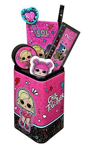 Undercover LOLO5522 Köcher, LOL Surprise, Stiftehalter gefüllt mit viel Zubehör, ca. 24,5 x 14 x 7 cm, 7 teilig