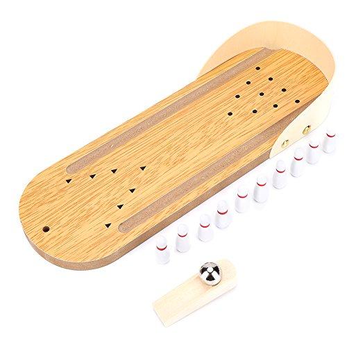 VGEBY Keenso Bowling-Spiele, Mini-Holz-Bowling-Spiel-Set für Kinder Erwachsene