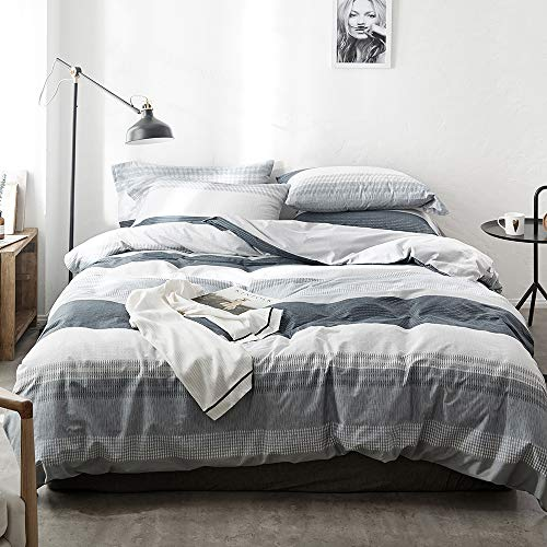 Stripe Duvet Cover Queen Geometric Comforter Duvet Cover Grey White Cotton Bedding Sets Full Queen Reversible Comforter Cover Full with Zipper Kids Full Duvet Cover Set for Boys Teens