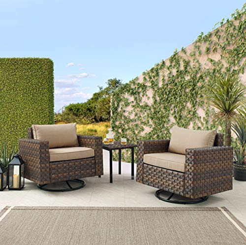 Art Leon 3 Pieces Patio Furniture Set PE Rattan Wicker Swivel Chairs with Coffee Table and Removable Cushions, Khaki