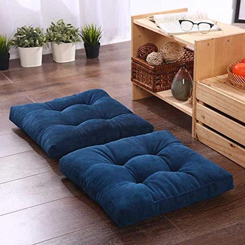 1 Uds., Banco Cuadrado, cojín para Asiento de Suelo para el hogar, cojín de Respaldo para Silla de Oficina, colchón Redondo Grueso para Ventanas, futón Azul Profundo, 43x43x6cm