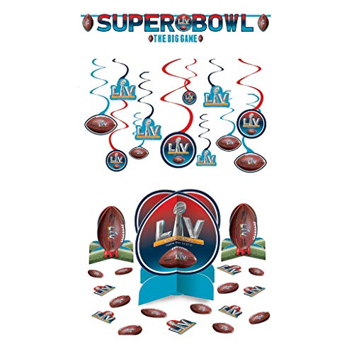 NFL Super Bowl 55 LV Football Party Decorating Supplies: Centerpieces, Banners and Hanging Swirls (2021)