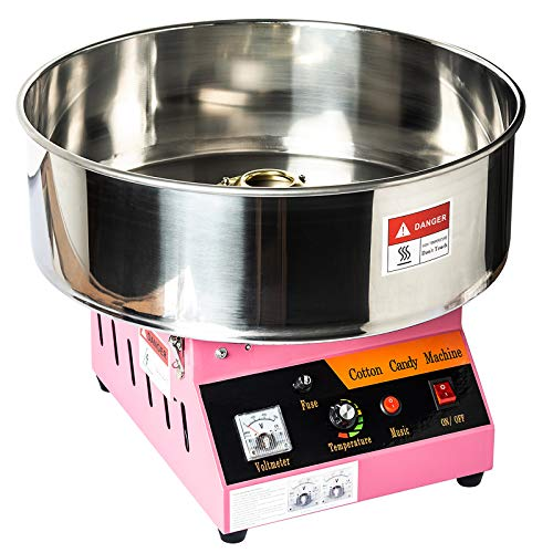 Display4top Tabletop Commercial Electric Cotton Candy Machine Sweet Sugar Candy Floss Maker,With Lights and Music (Rose pink)