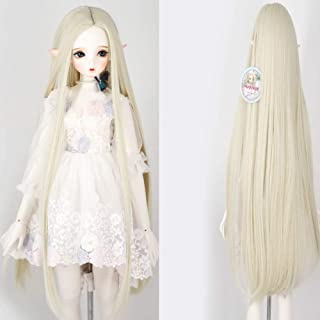 9-10 Inch BJD SD Doll Wig 1/3 BJD Doll Wig Heat Resistant Fiber Long White Blonde Straight Fairy Maiden Doll Hair SD BJD Doll Wig
