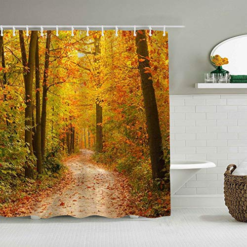 QINCO Duschvorhang,Wald Herbstblatt Herbst Ahorn Dschungel,personalisierte Deko Badezimmer Vorhang,mit Haken,180 * 180