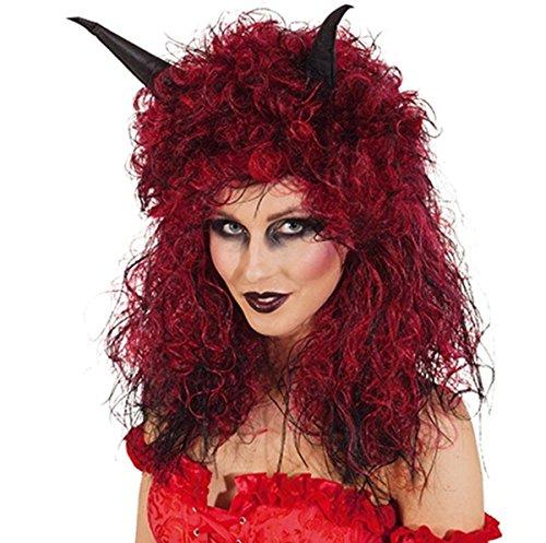Perücke: Teufelsperücke, schwarz-rot, lange Locken, mit Hörnern