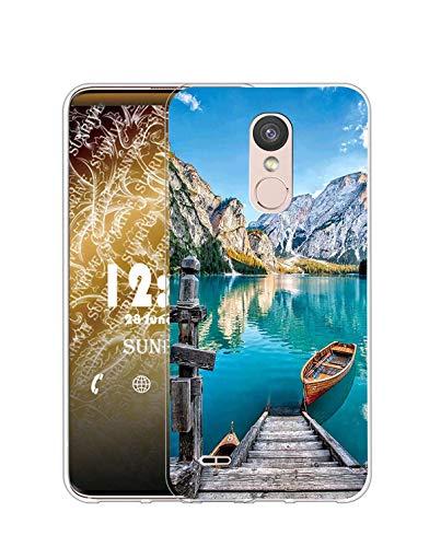 Sunrive Funda Compatible con LG K8 2017/K4 2017, Silicona Slim Fit Gel Transparente Carcasa Case Bumper de Impactos y Anti-Arañazos Espalda Cover(Q Lago)