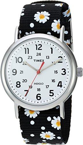 Timex Women's TW2R24100 Weekender Black Floral Reversible...