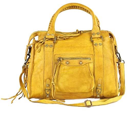 BZNA Bag Simona gelb Italy Designer Damen Ledertasche Handtasche Schultertasche Tasche Leder Beutel Neu
