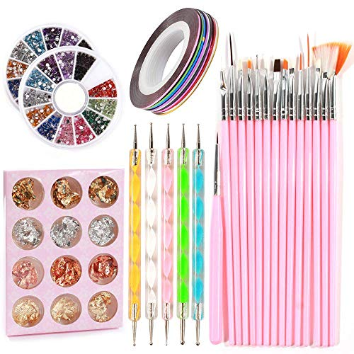 TYWZJ Nail Art Tool 33 Set, Include Nail Painting Brushes Dotting Painting Pens Chip Glitter Nail Foil Striping Tape Colorful Nail Art Rhinestones for Nail Art Decorations