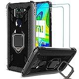 IMBZBK Funda para Xiaomi Redmi Note 9 + [2 Pack] Protector Pantalla Xiaomi Redmi Note 9 Cristal Templado,[Soporte Giratorio de 360 Grados con Anillo de Dedo][Grado Militar Anti-Golpe] TPU Silicona