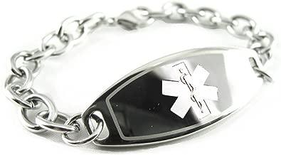 My Identity Doctor Custom Engraved Womens Medical Alert Bracelet, Steel O-Link Chain, Medium 6mm