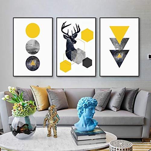 Impresión en lienzo de alta definición, impresión de luz nórdica, póster de alce simple, para sofá, fondo de pared, decoración del hogar, decoración del hogar