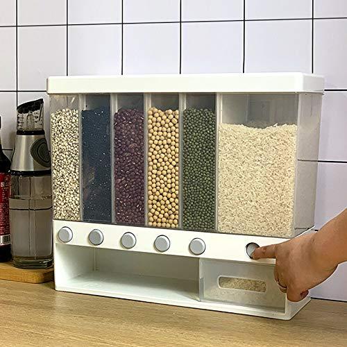 Kaibrite Dispensador de cereales, dispensador de cereales, dispensador de cereales, dispensador de comida seca de pared, para cereales, arroz con 6 compartimentos