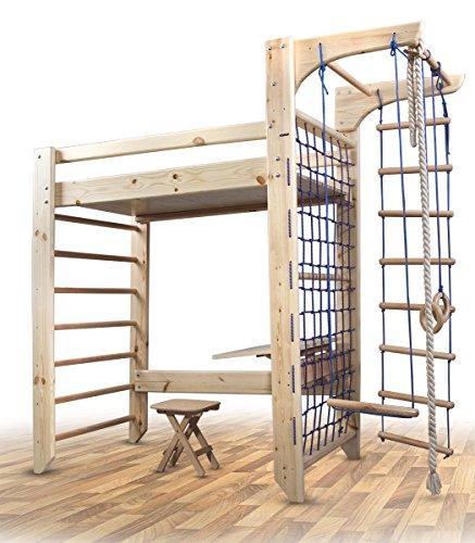 FunnyClouds Spielbett 'Enjoy It' Hochbett mit Sprossenwand und Kletternetz Kinderbett Abenteuerbett...