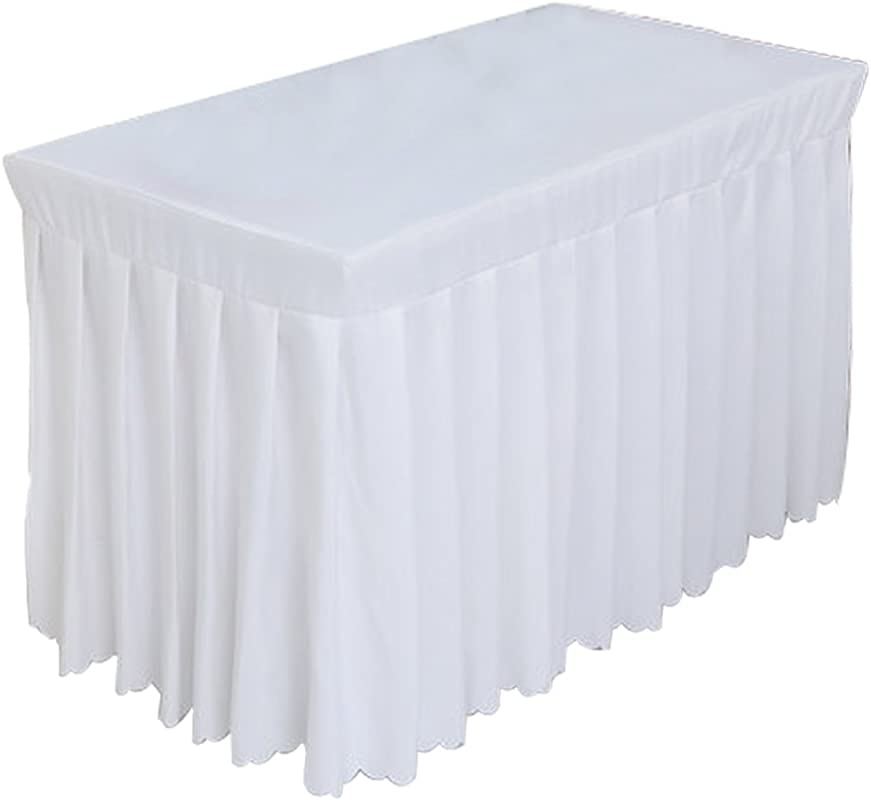 Tina 6 Ft Polyester Fitted Tablecloth Table Skirt For Wedding Banquet Trade Show White