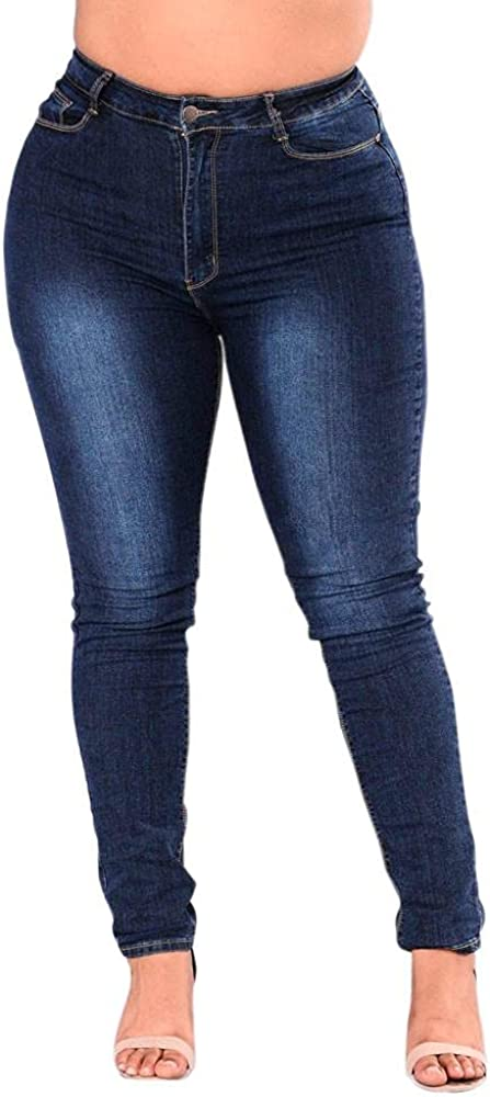 FUNEY Womens Comfy Stretch Denim Pants Plus Size Classic High Waist Relaxed Fit Skinny Jeans Jeggings Fitness Pencil Pants