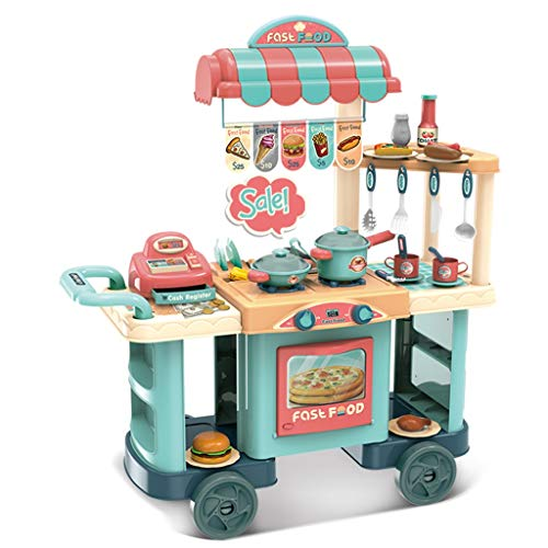 CEspace Kitchen Toy Cart Play Set with Real Cooking /Role Play Kids Shopping Grocery /Small Cart with Cash Register /Boy Girl Role Gifts 3 Year Old