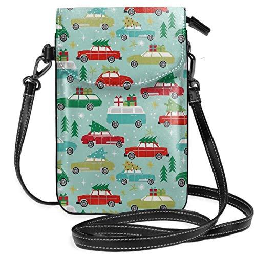 Weihnachtliches Auto Tradition Weihnachtsbäume Urlaubsmuster, leicht, kleine Umhängetasche, Handtasche, Geldbörse für Frauen und Mädchen mit praktischem Tragen.