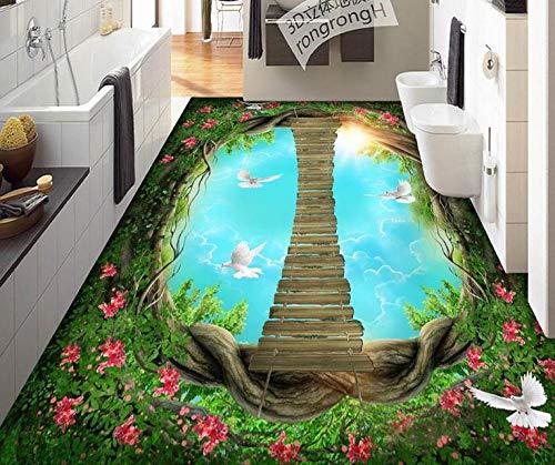 Aangepaste Vinyl Vloeren Badkamer Mural Coral Reef Fish 3D PVC Vloeren Waterdichte Muren Behang Vinyl Vloeren Lijmen 450cm(L)x300cm(W)