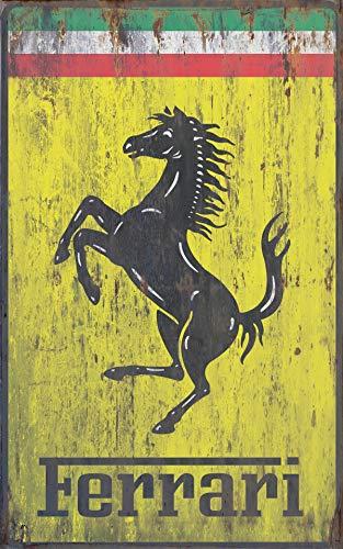 Cartello pubblicitario Ferrari decorativo, da parete, in metallo, vintage, da 25,4 x 20,3 cm, retrò